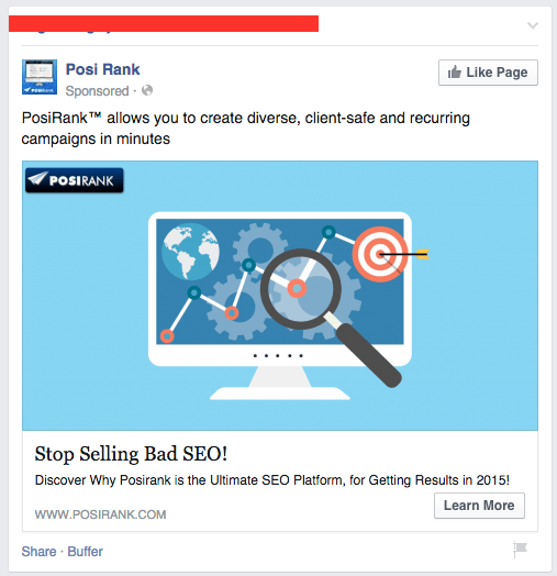 Facebook ad for SEO