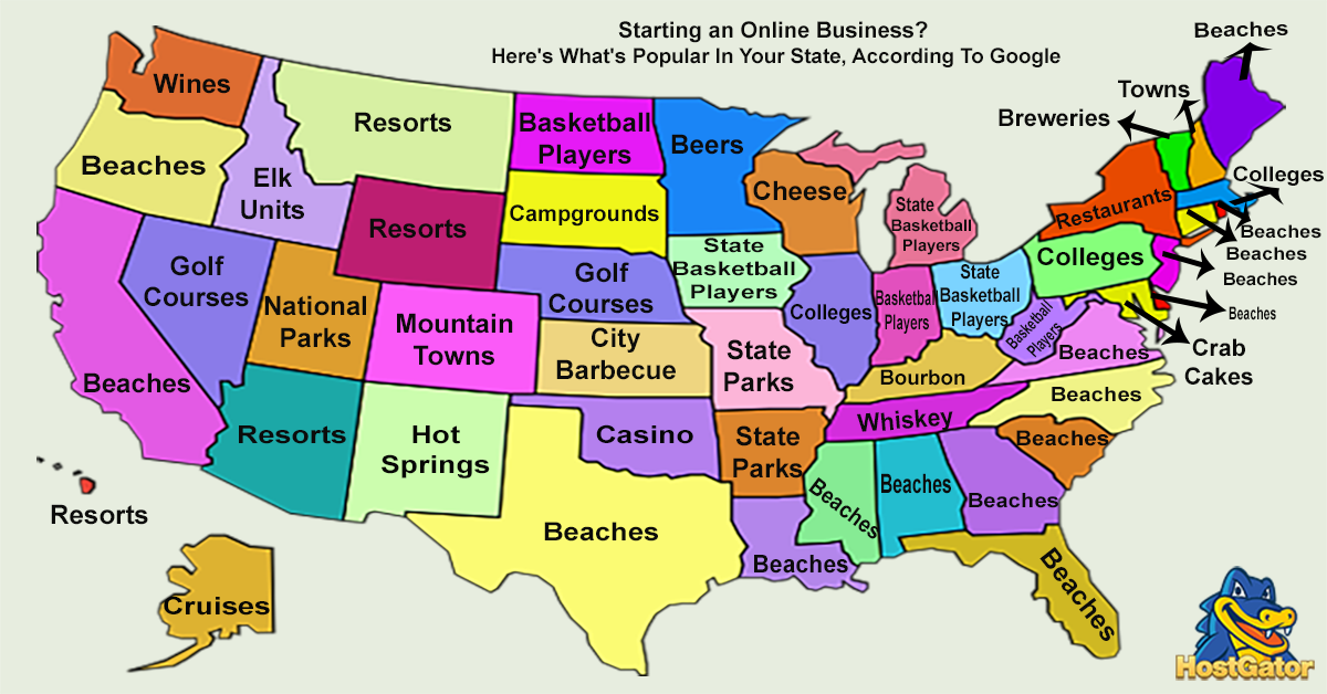 Best State Google Autocompletes Map by HostGator