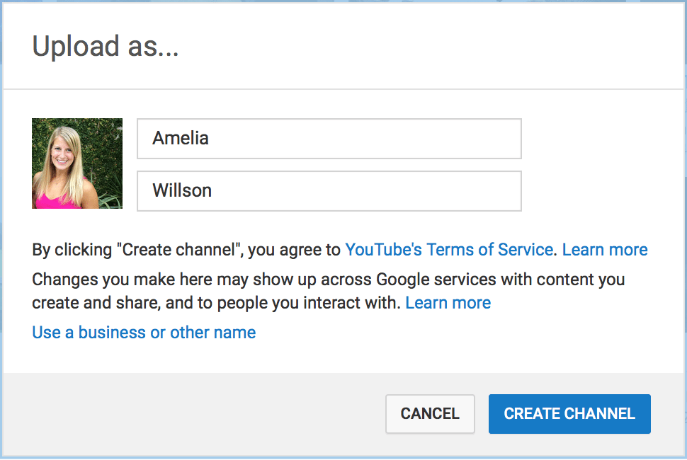 YouTube Create Channel