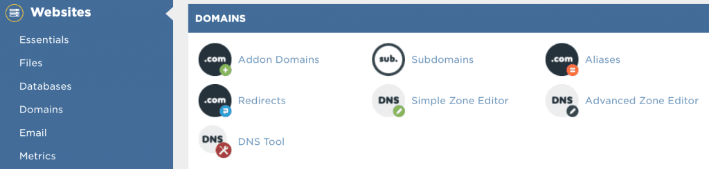 Manage domains in cPanel
