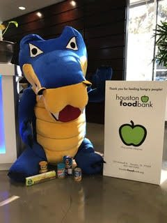 Snappy with HostGator Houston Food Drive Donation Box