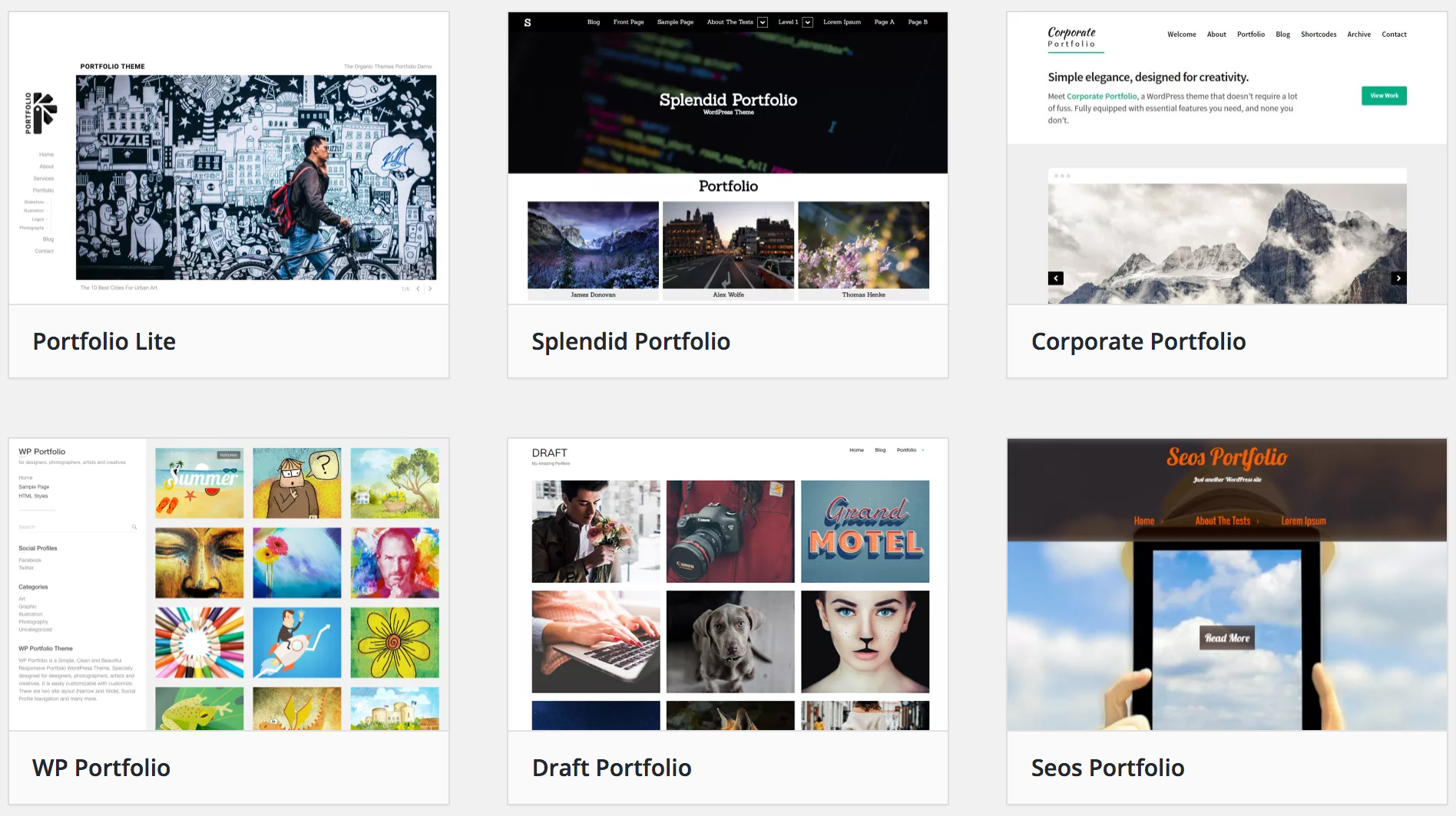 WordPress portfolio themes for photographers