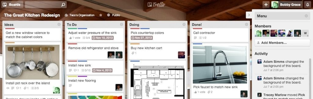 Trello project management for affiliate marketing