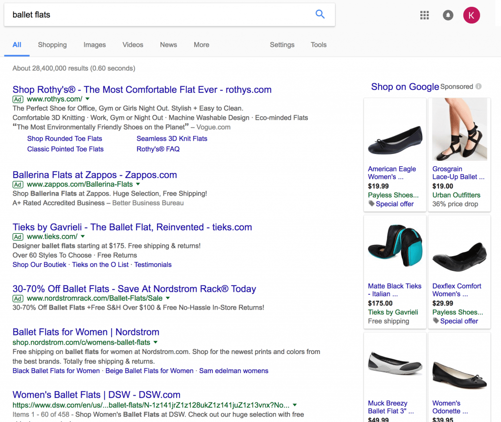 Google organic results vs paid