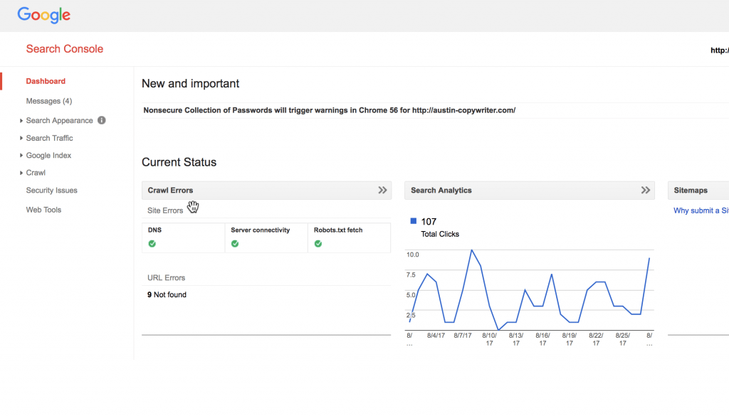 Google search console bounce rate
