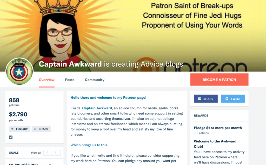 patreon acount for blog
