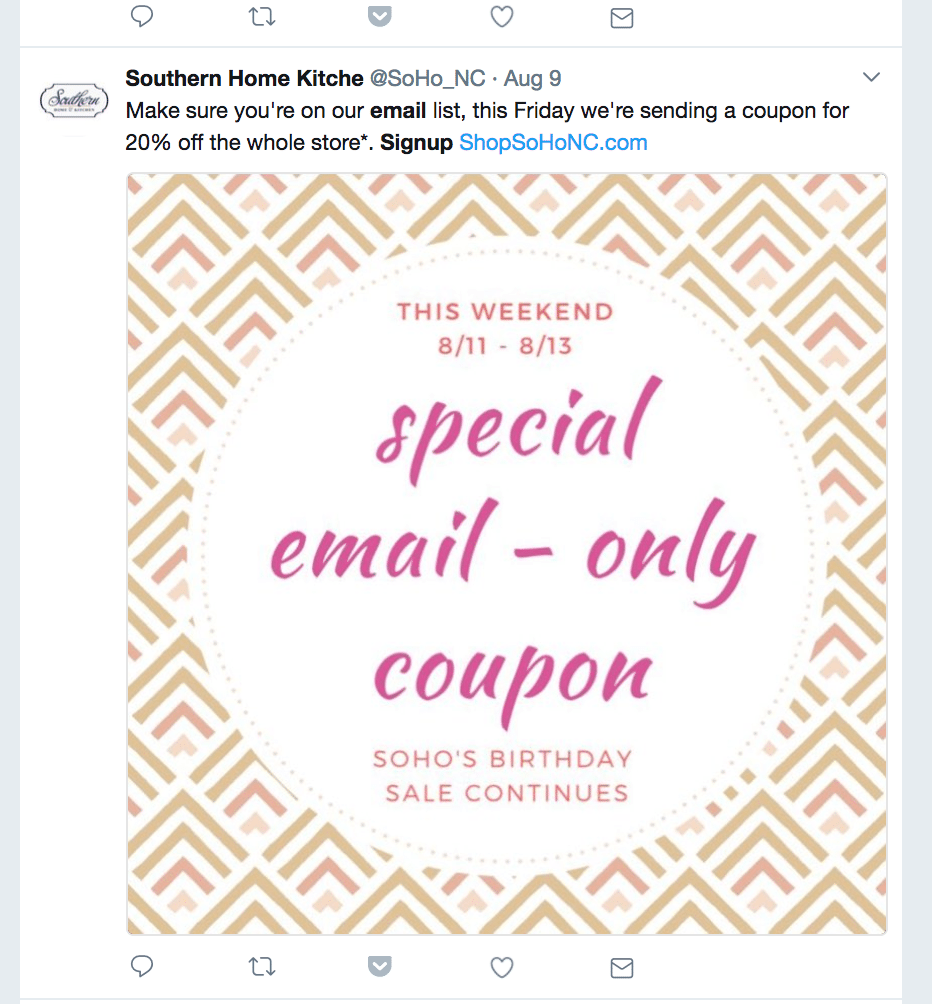 Special email discount