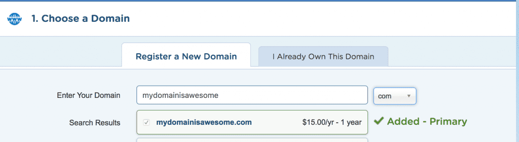 add domain name to shopping cart