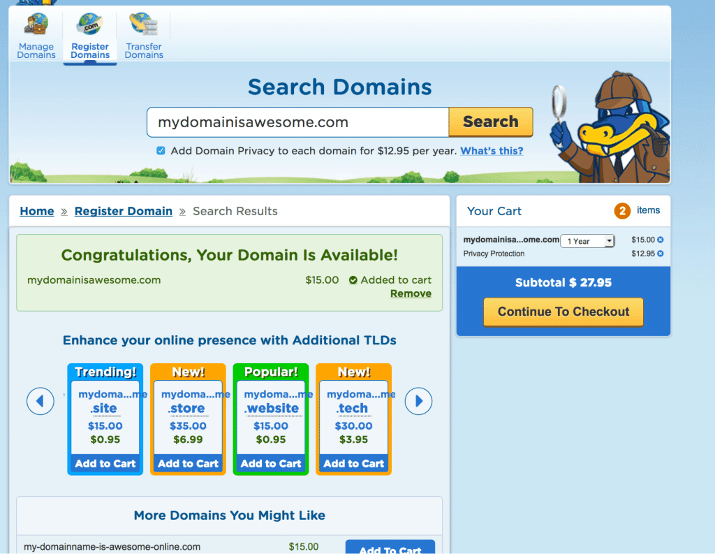 register new domain name with hostgator