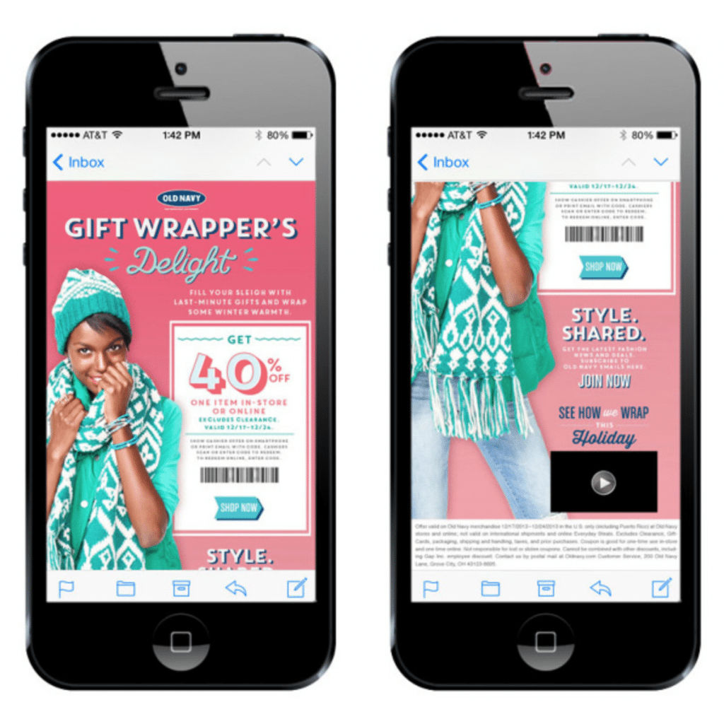 holiday mobile email example for ecommerce