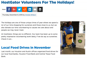 holiday blog content about your company giving back