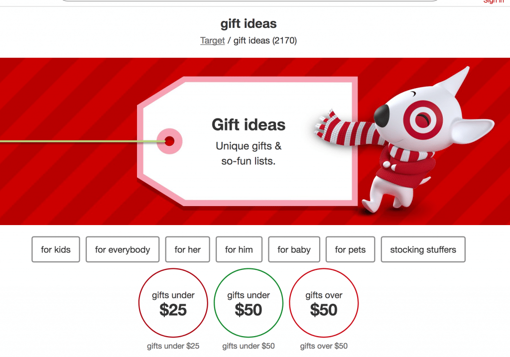 organize website by gift category