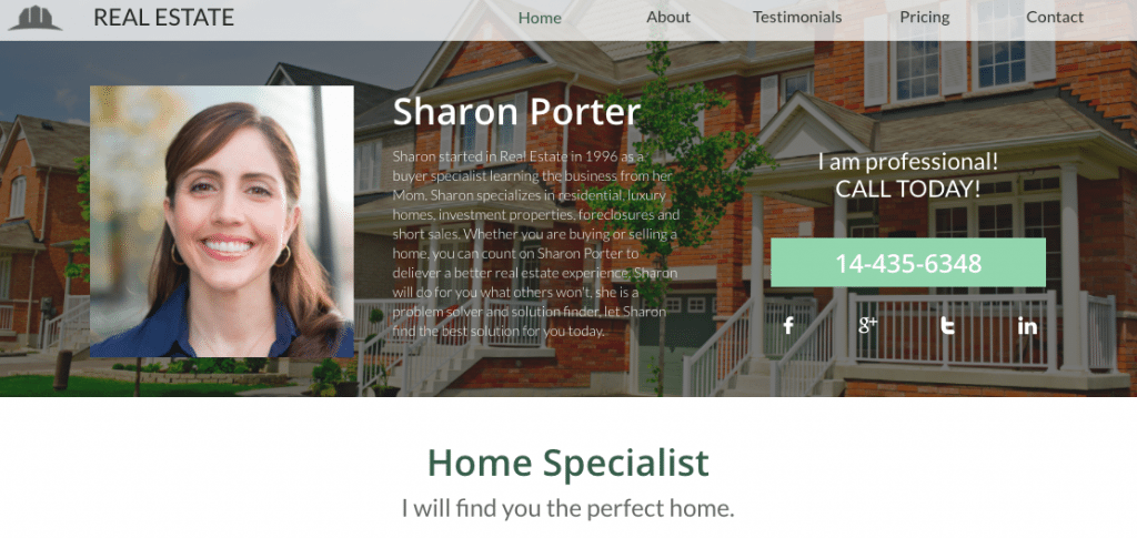 website template for personal realtor