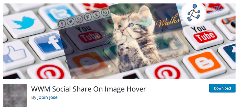 image hover for social sharing on wordpress