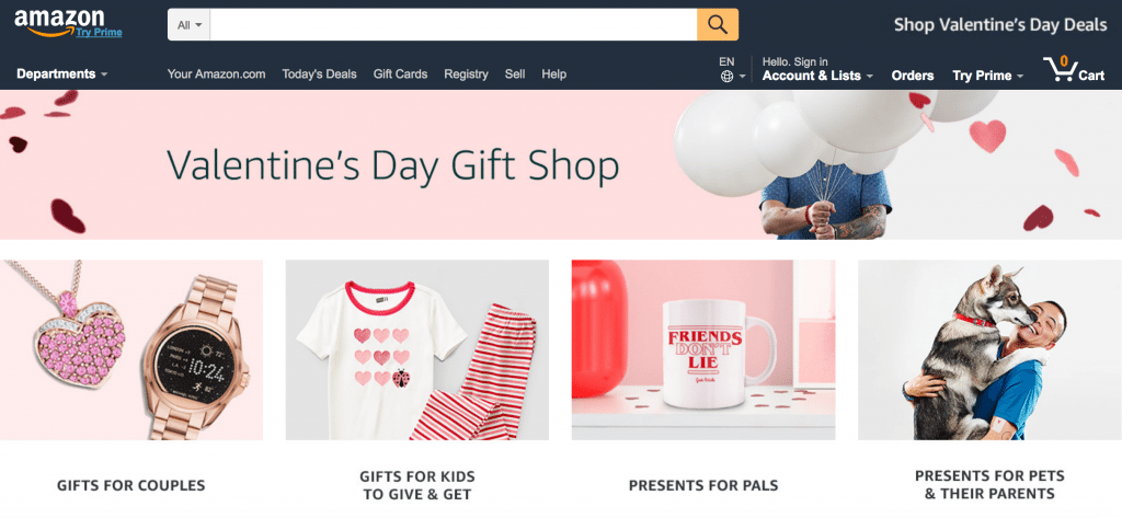 Amazon's Valentine's Day Gift Shop ecommerce valentine's day example