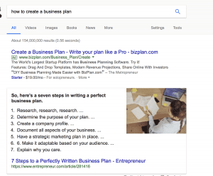 example of bulleted list featured snippet for how to create a business plan