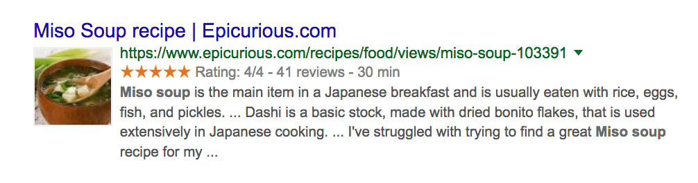 google recipe rich snippet example