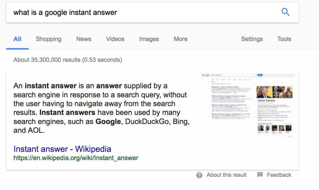 example of featured snippet result in Google
