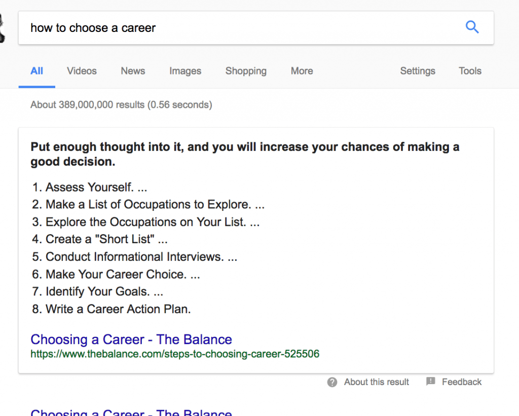 example of list featured snippet for how to choose a career