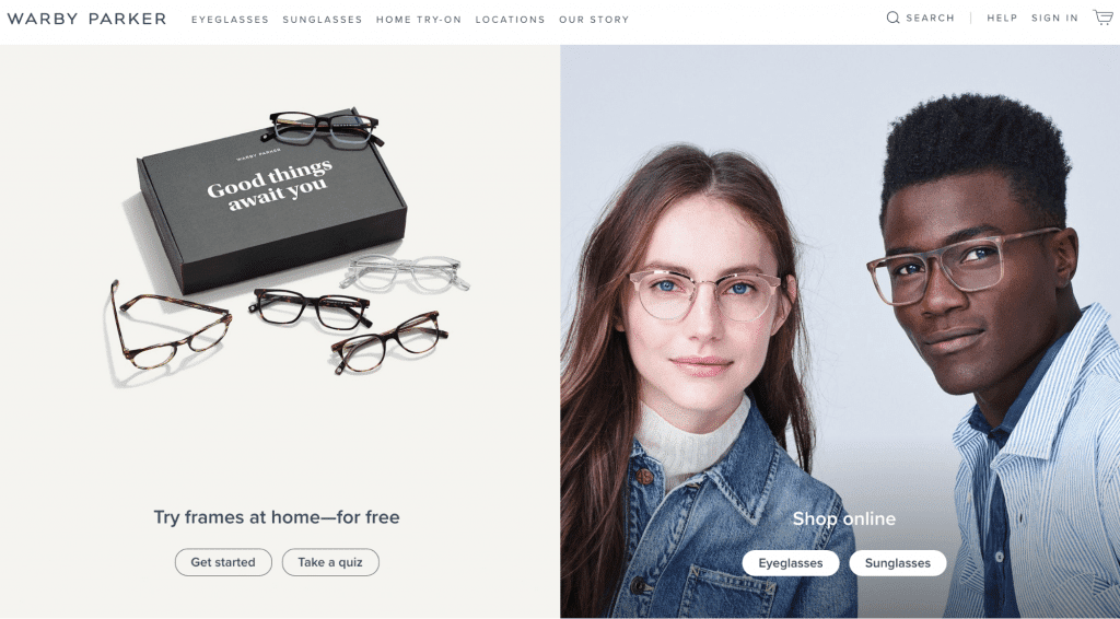 example of clean design on warby parker website