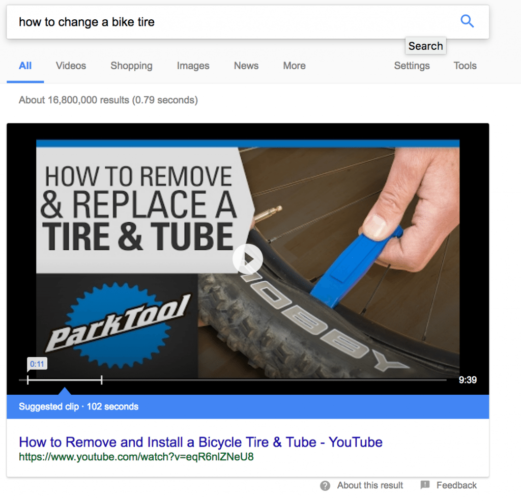 example of video rich result from YouTube for how to change a bike tire