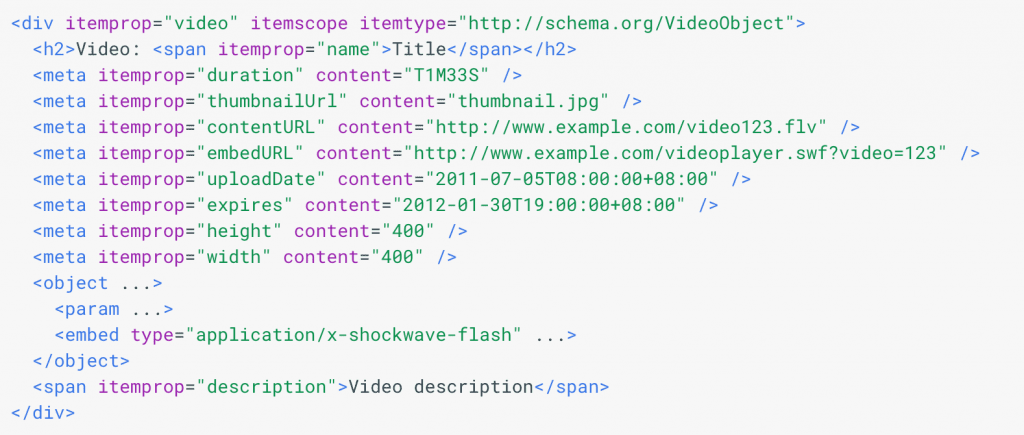 schema.org code for video rich snippet result