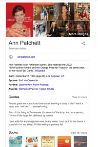 google knowledge box for author ann patchett