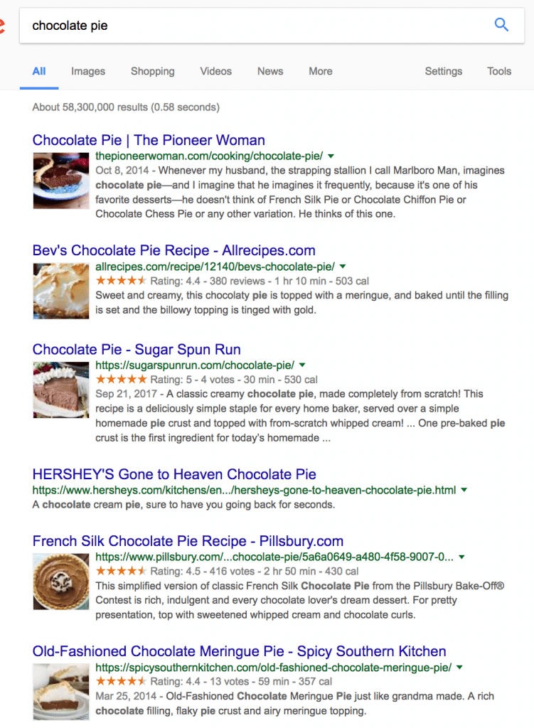 examples of rich snippet results for chocolate pie recipes