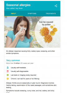 example of Google Knowledge Box medical information for seasonal allergies