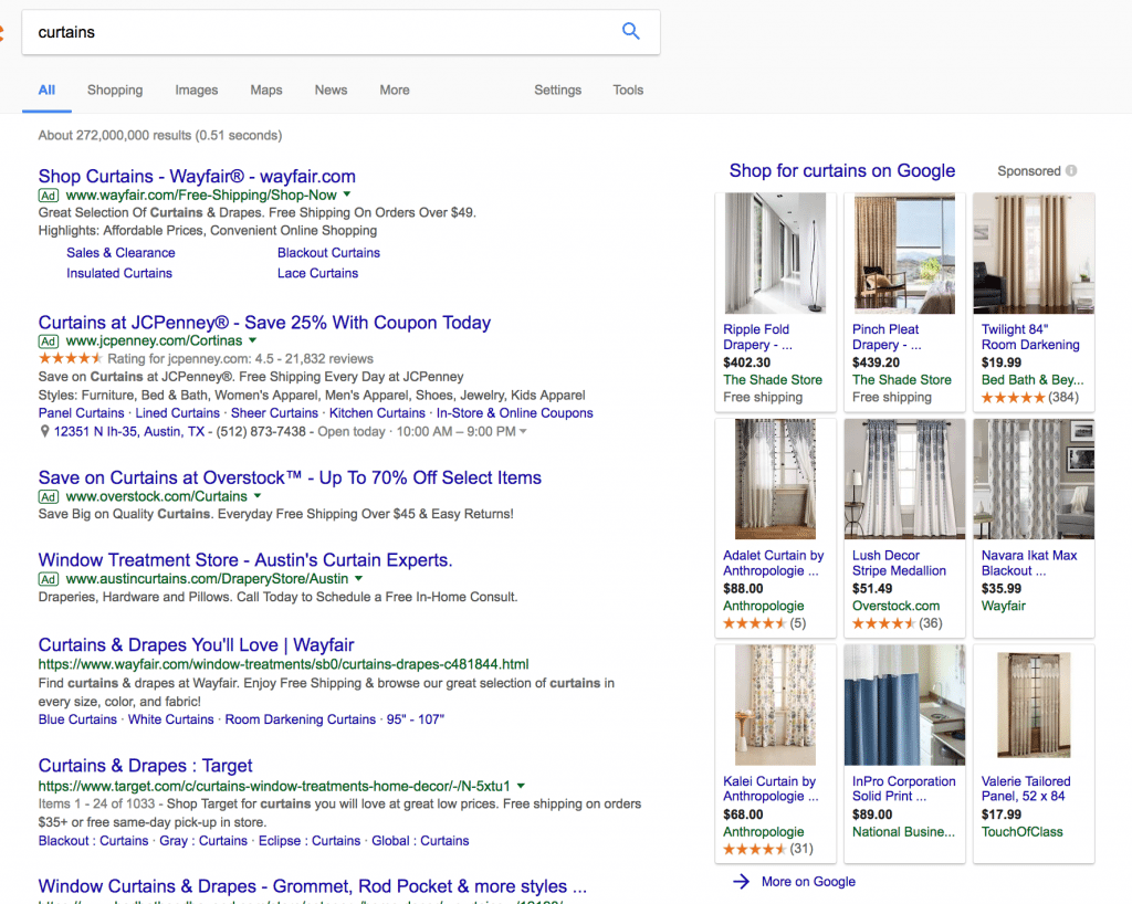 Google rich ad results for curtains