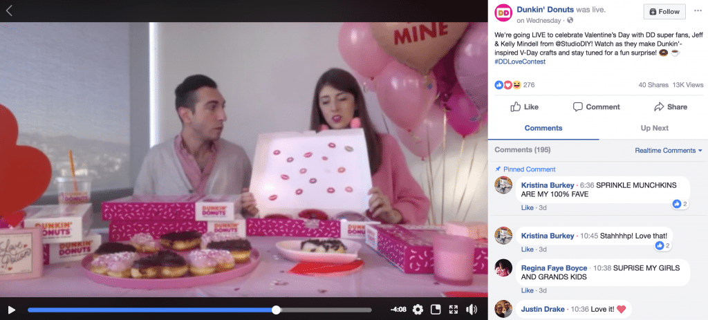 dunkin donuts facebook live video