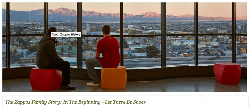 tell business story with founder history about us page from zappos