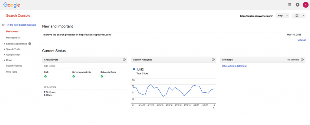 old google search console