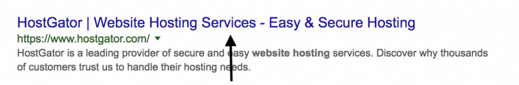 title tag in search results