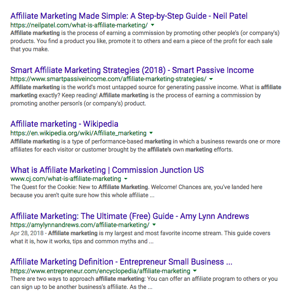 google search results for affiliate marketing showing URL
