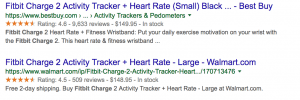 rich snippet results for product