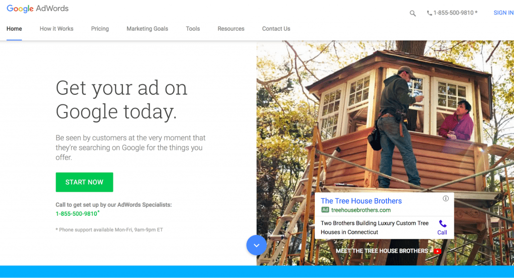 google ads get started screen