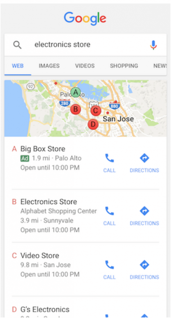 google ads local map search result