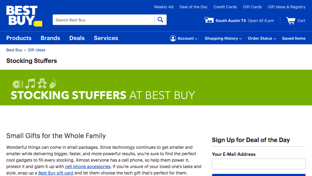 best buy stocking stuffers page for holiday season