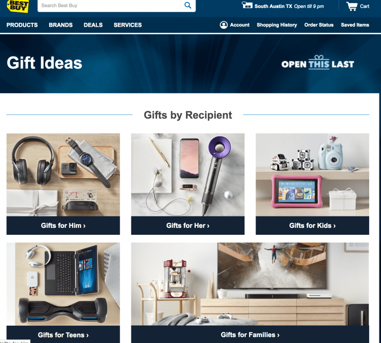 holiday gift guide categories on Best Buy website