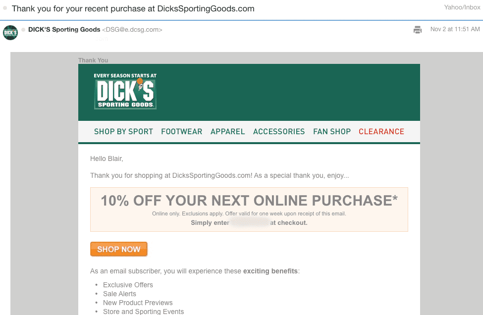 next purchase coupon