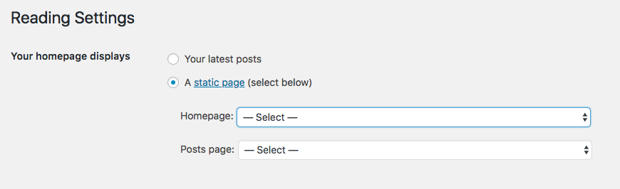 update the reading settings for your homepage display