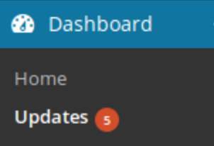 navigate to updates in wordpress dashboard