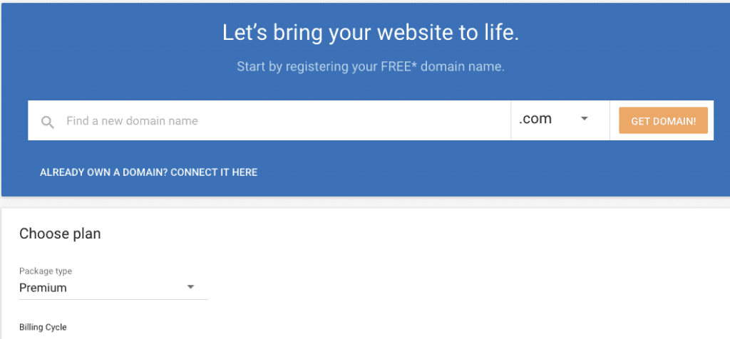 select domain name with hostgator website builder