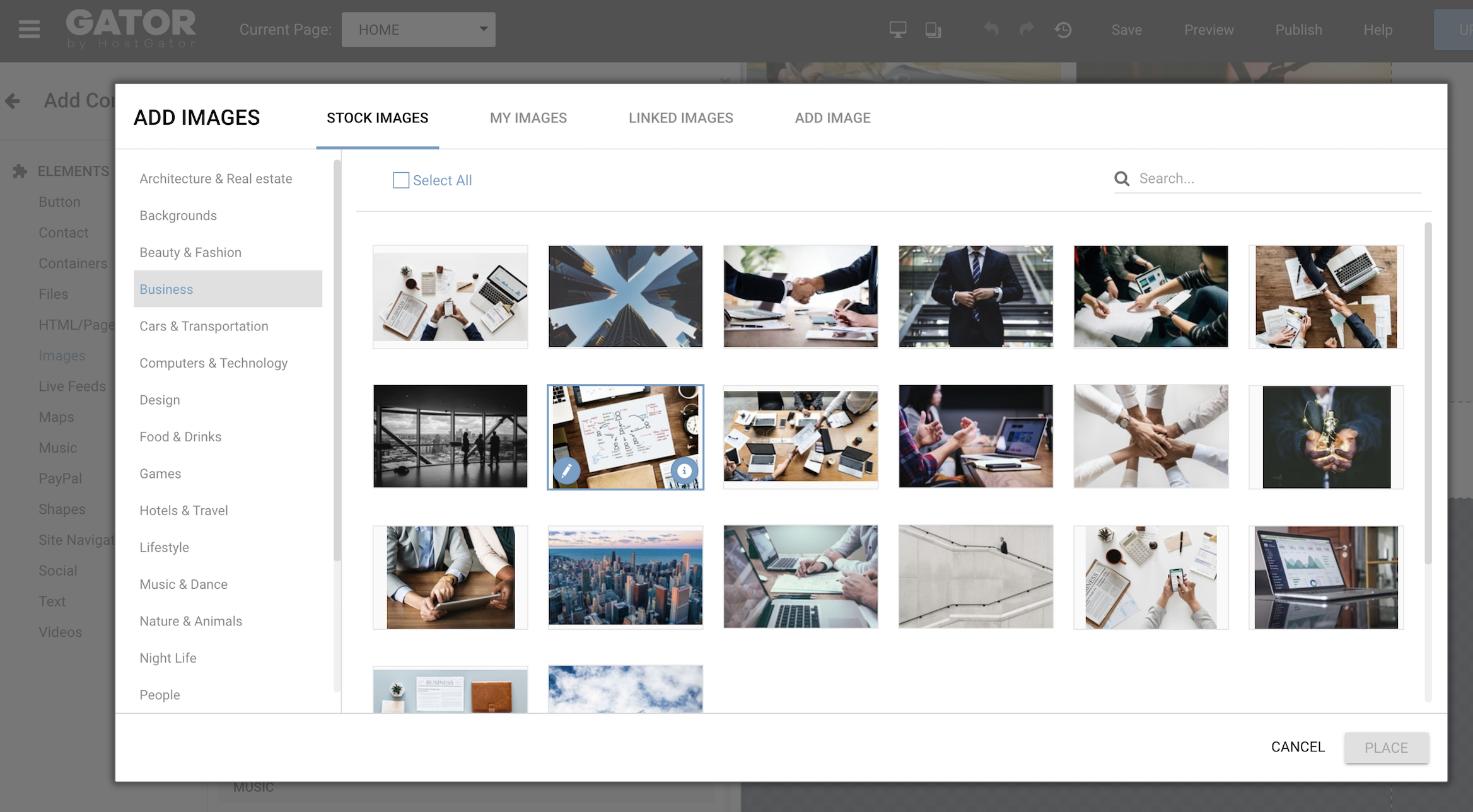 GATOR website builder comes with an integrated stock photo library