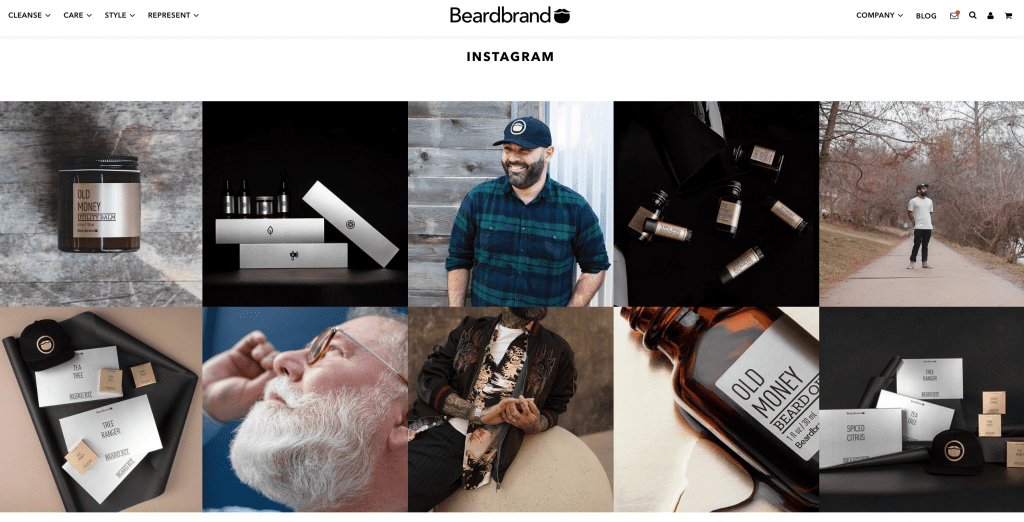 beardbrand instagram feed on website