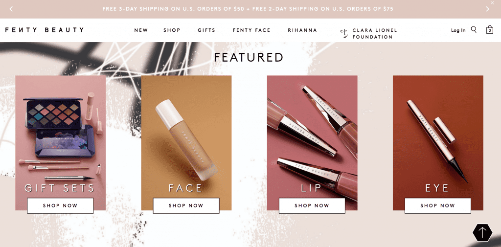 fenty beauty featured products website design