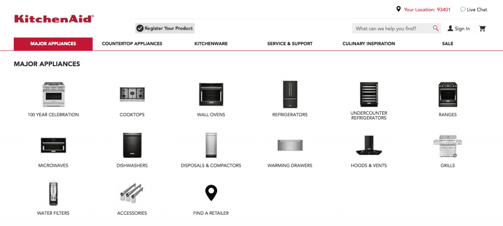 kitchenaid product categories web design