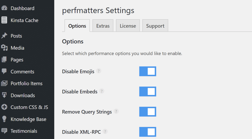 perfmatters wordpress plugin to reduce http requests