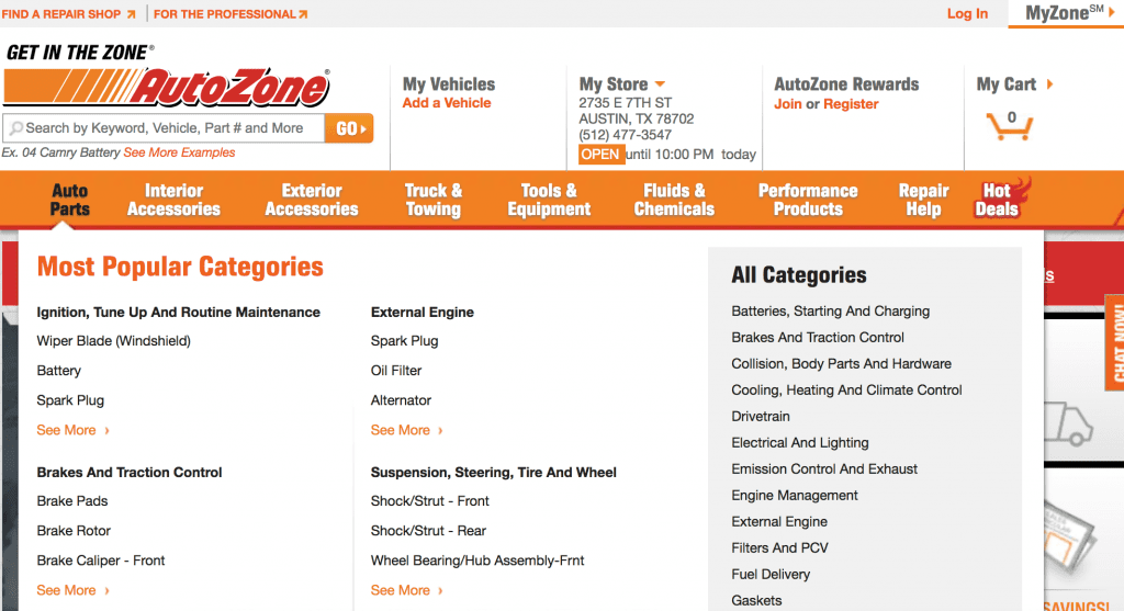 autozone top navigation with more product categories underneath